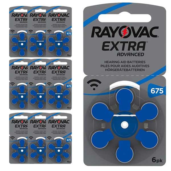 60 Pilas para audífonos Rayovac Extra Advanced 675 azul