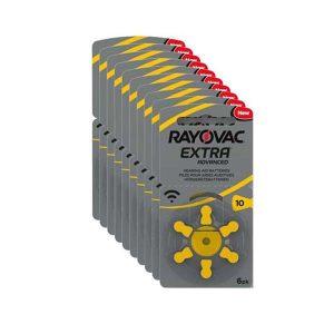 Pilas 10 Rayovac para audífonos color amarilla