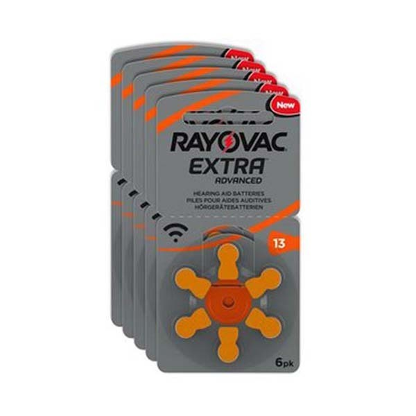 Pilas 13 Rayovac para audífonos color naranja