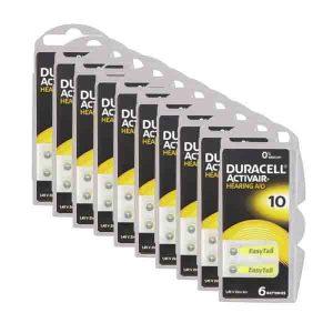 60 Pilas 10 Amarilla Duracell Activar para audífonos