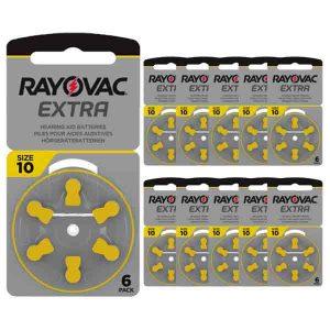 60 Pilas para audífonos de la Amarilla 10 Rayovac Extra.