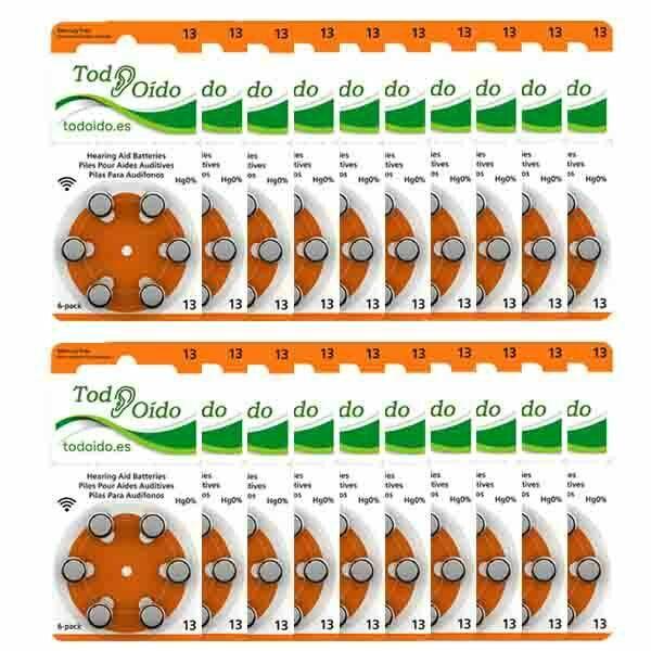 Pilas para audífonos Rayovac 13 Naranja pack de 120
